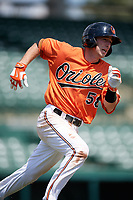 Baltimore Orioles Mason McCoy (58) runs to first base during an Instructional League game against the Pittsburgh Pirates on September 27, 2017 at Ed Smith Stadium in Sarasota, Florida.  (Mike Janes/Four Seam Images)
