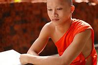 Bouddhist monks and novices at WAT PHO Near  Luang Prabang, Laos.