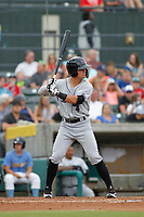 Winston-Salem Dash second baseman Mitch Roman (4) at bat during a game against the Myrtle Beach Pelicans at Ticketreturn.com Field at Pelicans Ballpark on July 23, 2018 in Myrtle Beach, South Carolina. Winston-Salem defeated Myrtle Beach 6-1. (Robert Gurganus/Four Seam Images)