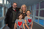 BETHLEHEM,  CT-021419JS16- Ralph and Patti Fasulo of Waterbury with their grand-children Adriana Saxton, 6, and Gianna Saxton, 8, of Woodbury, at the third annual Valentines Day grandparents dinner at Bethlehem Elementary School. The event was hosted by the Bethlehem Elementary School PTO. <br />  Jim Shannon Republican American