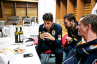 02-02-2014,Czech Republic, Ostrava, Cez Arena, Davis Cup Czech Republic vs Netherlands, ,  Dressing room, before play starts, Players relaxing, l.t.r.:  Robin Haase, stringer Ralph Pieterman and physiotherapist Edwin Visser<br /> Photo: Henk Koster
