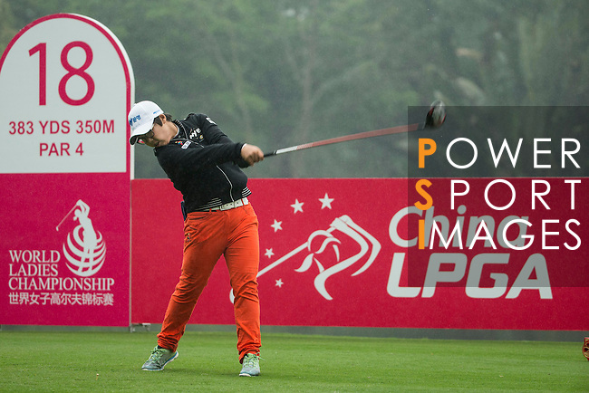 Jeong Min Cho of South Korea tees off at the 18th hole during Round 4 of the World Ladies Championship 2016 on 13 March 2016 at Mission Hills Olazabal Golf Course in Dongguan, China. Photo by Victor Fraile / Power Sport Images