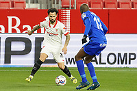 Sevilla FC' Suso Fernandez (l) and Getafe CF's Allan Nyom during La Liga match. February 6,2021. (ALTERPHOTOS/Acero)<br /> Liga Spagna 2020/2021 <br /> Sevilla FC Vs Getafe <br /> Photo Acero/Alterphotos / Insidefoto <br /> ITALY ONLY