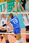 06.11.2010, Nippon Gaishi Hall, Nagoya, JPN, Volleyball Weltmeisterschaft Frauen 2010,  Deutschland ( GER ) vs. Italien ( ITA ), im Bild Corina Ssuschke (#9 GER), Heike Beier (#12 GER) - Valentina Arrighetti (#13 ITA). Foto © nph / Kurth