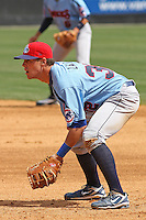 Blake Lalli #32 of the Tennessee Smokies  playing 1st base during a game against the Carolina Mudcats on April 20, 2010 in Zebulon, NC.