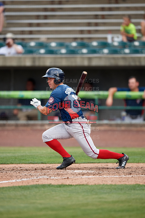 Potomac Nationals left fielder Jack Sundberg (14) follows through on a swing during the first game of a doubleheader against the Lynchburg Hillcats on June 9, 2018 at Calvin Falwell Field in Lynchburg, Virginia.  Lynchburg defeated Potomac 5-3.  (Mike Janes/Four Seam Images)