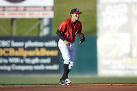 Kannapolis Intimidators shortstop Laz Rivera (13) on defense against the Lakewood BlueClaws at Kannapolis Intimidators Stadium on April 5, 2018 in Kannapolis, North Carolina.  The Intimidators defeated the BlueClaws 4-3.  (Brian Westerholt/Four Seam Images)