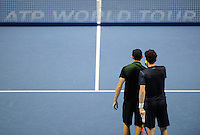 Jamie Murray (SCO) and John Peers (AUS) discuss tactics against Simone Bolelli (ITA) and Fabio Fognini (ITA) during Day One of the Barclays ATP World Tour Finals 2015 played at The O2, London on November 15th 2015