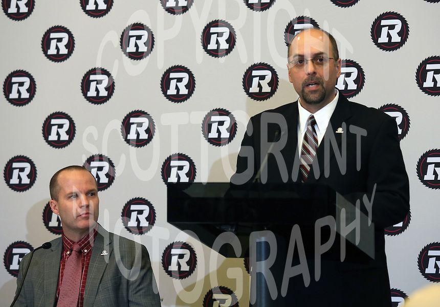 Rick Campbell Head Coach Marcel Desjardins GM  Ottawa RedBlacks 2013. Photo Scott Grant