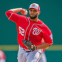 3 March 2016: Washington Nationals pitcher Yusmeiro Petit on the mound during a Spring Training pre-season game against the New York Mets at Space Coast Stadium in Viera, Florida. The Nationals defeated the Mets 9-4 in Grapefruit League play. Mandatory Credit: Ed Wolfstein Photo *** RAW (NEF) Image File Available ***