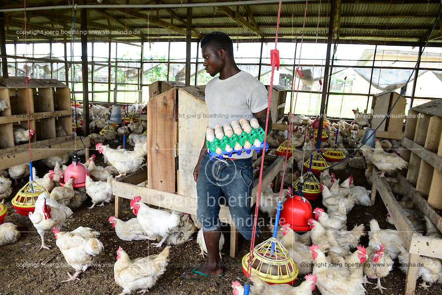 NIGERIA, Oyo State, Ibadan, chicken coop, keeping of layer hen for egg production /Legehennenhaltung fuer Eierproduktion