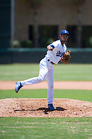 AZL Dodgers relief pitcher Edward Cuello (60) follows through on his delivery during an Arizona League game against the AZL Padres 2 at Camelback Ranch on July 4, 2018 in Glendale, Arizona. The AZL Dodgers defeated the AZL Padres 2 9-8. (Zachary Lucy/Four Seam Images)