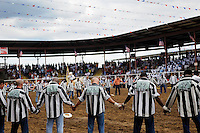 USA. Angola. 12th October 2008..Prisoners gather to pray before the Rodeo begins..©Andrew Testa/Panos