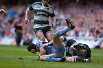 Cardiff Blues v Leicester Tigers - Heineken Cup Semi-Final at the Millennium Stadium in Cardiff..Cardiff's Leigh Halfpenny is caught..