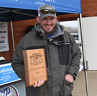 Tyler Hickman with his first place trophy at the Pagnizzi Parker Charities Big Bass Tournament. <br />