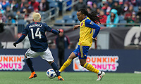 Foxborough, Massachusetts - March 10, 2018: First half action. In a Major League Soccer (MLS) match, New England Revolution (blue/white) vs Colorado Rapids (yellow/blue), at Gillette Stadium.