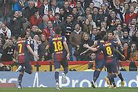 FC Barcelona's David Villa, Jordi Alba, Daniel Alves, Andres Iniesta and Leo Messi celebrate goal during La Liga match.March 02,2013. (ALTERPHOTOS/Acero) /NortePhoto