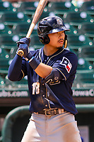 San Antonio Missions second baseman Keston Hiura (18) at bat during a Pacific Coast League game against the Iowa Cubs on May 2, 2019 at Principal Park in Des Moines, Iowa. Iowa defeated San Antonio 8-6. (Brad Krause/Four Seam Images)