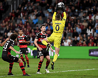 1st May 2021; Bankwest Stadium, Parramatta, New South Wales, Australia; A League Football, Western Sydney Wanderers versus Sydney FC; Daniel Margush of Western Sydney Wanderers collects the ball wearing the number zero as a symbol of the NSW government Towards Zero message for road deaths