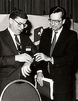 Montreal, CANADA, January 20 1985 File Photo - Gerard D. Levesque attend the Liberal Party of Quebec convention and give the time to  Robert Bourassa (R)