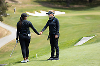 STANFORD, CA - APRIL 24: Simar Singh, Carrie Forsyth at Stanford Golf Course on April 24, 2021 in Stanford, California.