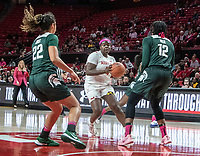 COLLEGE PARK, MD - FEBRUARY 03: Nia Hollie #12 and Moira Joiner #22 of Michigan State defend against Ashley Owusu #15 of Maryland during a game between Michigan State and Maryland at Xfinity Center on February 03, 2020 in College Park, Maryland.