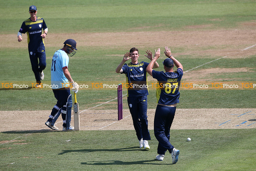 John Turner of Hampshire celebrates taking the wicket of Sir Alastair Cook during Hampshire Hawks vs Essex Eagles, Royal London One-Day Cup Cricket at The Ageas Bowl on 22nd July 2021