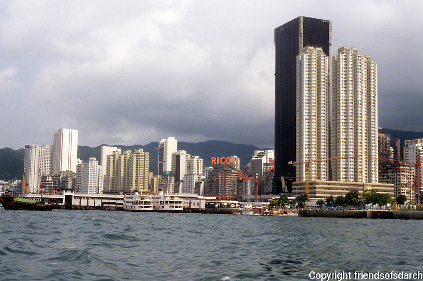 Hong Kong: Wanchai Ferry Slips, Skyscrapers. Photo '81.