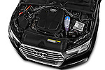 Car Stock 2017 Audi A4 Sport 5 Door Wagon Engine  high angle detail view