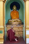 Myanmar, (Burma), Yangon Region, Rangoon: Buddhist monk praying at a shrine inside the Shwedagon pagoda | Myanmar (Birma), Yangon-Division, Rangun: Buddhistischer Moench beim Gebet in der Shwedagon Pagode