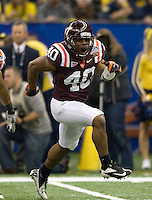 Wiley Brown of Virginia Tech in action during Sugar Bowl game against Michigan at Mercedes-Benz SuperDome in New Orleans, Louisiana on January 3rd, 2012.  Michigan defeated Virginia Tech, 23-20 in first overtime.