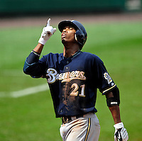 23 August 2009: Milwaukee Brewers' shortstop Alcides Escobar thanks heaven after crossing the plate to score against the Washington Nationals at Nationals Park in Washington, DC. The Nationals defeated the Brewers 8-3 to take the third game of their four-game series, snapping a five games losing streak. Mandatory Credit: Ed Wolfstein Photo