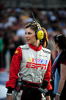 Feb 21, 2009; Fontana, CA, USA; ESPN pit road reporter Jamie Little on the grid prior to the NASCAR Nationwide series Stater Brothers 300 at Auto Club Speedway. Mandatory Credit: Mark J. Rebilas-
