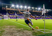 ORLANDO, FL - JANUARY 22: Megan Rapinoe #15 of the USWNT takes a corner kick during a game between Colombia and USWNT at Exploria stadium on January 22, 2021 in Orlando, Florida.
