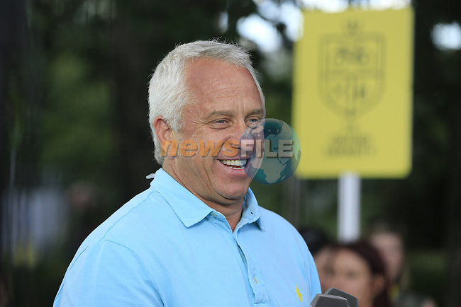 Former winner Greg LeMond commentates for Eurosport during Stage 2 of the 2014 Tour de France running 200km from York to Sheffield. 6th July 2014.<br /> Picture: Eoin Clarke www.newsfile.ie