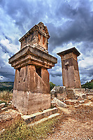 "The Lycian ""Harpy Tomb"", a marble pillar tomb from 480-470 B.C. The the Greek Archaic style carvings of four winged female figures, Harpies"" that covered the tomb were removed by Charles Fellows and are now in the British Museum.  Xanthos UNESCO World Heritage Archaeological Site, Turkey"