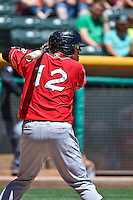 Ramiro Pena (12) of the El Paso Chihuahuas at bat against the Salt Lake Bees in Pacific Coast League action at Smith's Ballpark on July 26, 2015 in Salt Lake City, Utah. El Paso defeated Salt Lake 6-3 in 10 innings. (Stephen Smith/Four Seam Images)