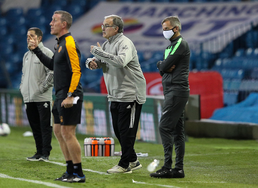 Leeds United manager Marcelo Bielsa shouts instructions to his team from the technical area<br /> <br /> Photographer Alex Dodd/CameraSport<br /> <br /> Carabao Cup Second Round Northern Section - Leeds United v Hull City -  Wednesday 16th September 2020 - Elland Road - Leeds<br />  <br /> World Copyright © 2020 CameraSport. All rights reserved. 43 Linden Ave. Countesthorpe. Leicester. England. LE8 5PG - Tel: +44 (0) 116 277 4147 - admin@camerasport.com - www.camerasport.com