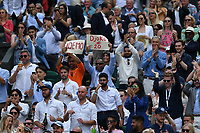 11th July 2021, Wimbledon SW London England, AELTC Wimbledon Tennis Championships, mens final, Novak Djokovic (Ser)  versus Matteo Berrettini (Ita) Tom Cruise with Hayley Atwell and Pom Klementieff