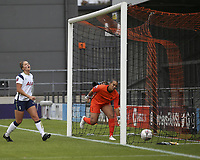 10th October 2020, The Hive, Canons Park, Harrow, England; Millie Turner  21 Manchester United, not pictured, scores the first goal for her team past keeper Spencer of Spurs in the 67th minute during for womens Super League game between Tottenham Hotspur and Manchester United
