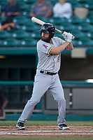 Salt Lake Bees second baseman Dustin Ackley (16) at bat during a Pacific Coast League game against the Fresno Grizzlies at Chukchansi Park on May 14, 2018 in Fresno, California. Fresno defeated Salt Lake 4-3. (Zachary Lucy/Four Seam Images)