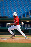 Thaddeus Ector (5) of Starrs Mill High School in Tyrone, GA during the Perfect Game National Showcase at Hoover Metropolitan Stadium on June 20, 2020 in Hoover, Alabama. (Mike Janes/Four Seam Images)