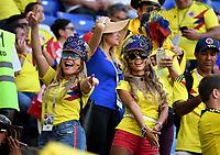 SAMARA - RUSIA, 28-06-2018: Hinchas de Colombia animan a su equipo durante partido de la primera fase, Grupo H, entre Senegal y Colombia por la Copa Mundial de la FIFA Rusia 2018 jugado en el estadio Samara Arena en Samara, Rusia. / Fans of Colombia cheer for their team during the match between Senegal and Colombia of the first phase, Group H, for the FIFA World Cup Russia 2018 played at Samara Arena stadium in Samara, Russia. Photo: VizzorImage / Julian Medina / Cont