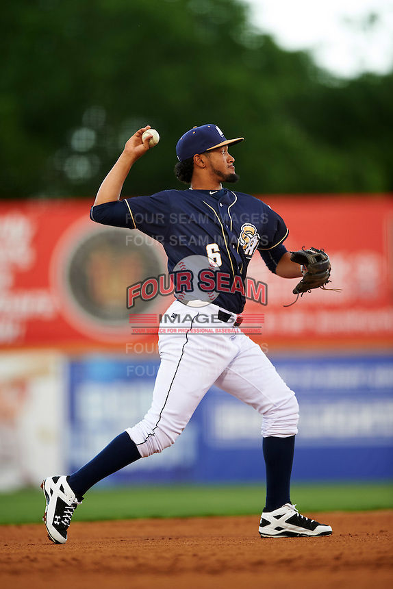 San Antonio Missions shortstop Jose Rondon (6) throws to first during a game against the Midland RockHounds on April 21, 2016 at Nelson W. Wolff Municipal Stadium in San Antonio, Texas.  Midland defeated San Antonio 9-2.  (Mike Janes/Four Seam Images)