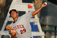 Frederick Keys pitcher Jhonathan Ramos (29) warming up in the bullpen before a game against the Myrtle Beach Pelicans at Ticketreturn.com Field at Pelicans Ballpark on May 21, 2015 in Myrtle Beach, South Carolina.  Frederick defeated Myrtle Beach 4-3. (Robert Gurganus/Four Seam Images)