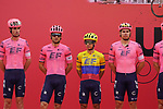 EF Education-Nippo at sign on before the start of Stage 5 of the 2021 UAE Tour running 170km from Fujairah to Jebel Jais, Fujairah, UAE. 25th February 2021.  <br /> Picture: Eoin Clarke   Cyclefile<br /> <br /> All photos usage must carry mandatory copyright credit (© Cyclefile   Eoin Clarke)