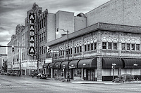 The Alabama Theatre, built in 1927 by the Paramount-Publix Corporation, was originally used to show silent movies.  It is one of two theaters remaining in the theater district of Birmingham, Alabama.