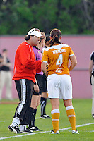 Atlanta Beat head coach James Galanis talks with Cat Whitehill (4). Sky Blue FC defeated the Atlanta Beat 3-0 during a Women's Professional Soccer (WPS) match at Yurcak Field in Piscataway, NJ, on May 21, 2011.