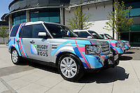 Rugby World Cup 2015 branded Range Rovers during the Rugby World Cup 2015 Venues and Match Schedule Launch at Twickenham Stadium on Thursday 2nd May 2013 (Photo by Rob Munro)