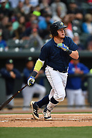 First baseman Dash Winningham (34) of the Columbia Fireflies bats in a game against the Lakewood BlueClaws on Saturday, May 6, 2017, at Spirit Communications Park in Columbia, South Carolina. Lakewood won, 1-0 with a no-hitter. (Tom Priddy/Four Seam Images)